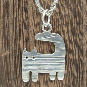 """24"""" Sterling Silver Rustic Kitty Cat Necklace"""